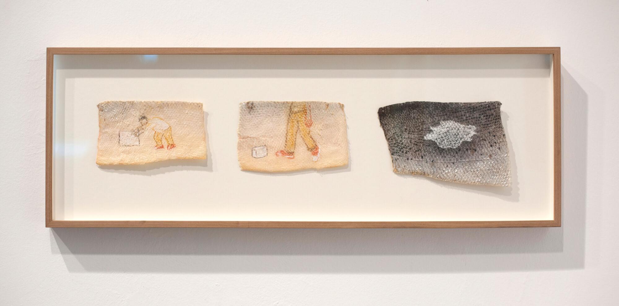 """Francis Alÿs"". Pastel sobre piel de salmón. 27 x 76 cm. 2014"